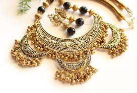 black jewelry necklace images Ethnic statement black gemstone antique gold tone necklace set at jpg
