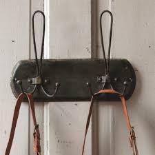 distressed black metal double hanger coat rack