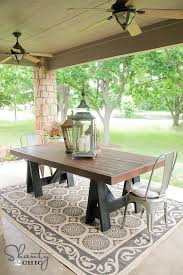 Free Outdoor Patio Furniture Plans by Ana White Sawhorse Outdoor Table Diy Projects