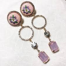 pink crystal rings images Embroidery pink crystal ring drop dangle earrings poshmark jpg