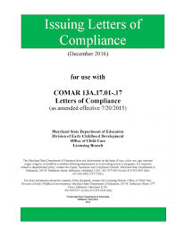 letters of compliance manual early childhood development