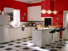 red black kitchen decoration using white retro kitchen countertops