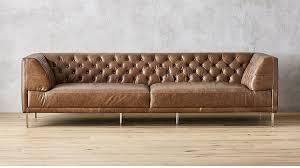 savile dark saddle brown leather tufted extra large sofa cb2