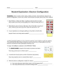 Electron Configuration Worksheet Answer Key Exploration Electron Configuration