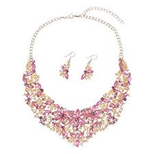 pink rhinestone necklace images Women alloy crystal necklace and earring set wedding jpg