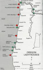map of oregon lighthouses real map collection mappery