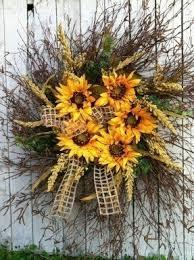 Sunflower Mesh Wreath Fall Wreaths For Sale Foter