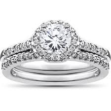 halo wedding ring 3 4ct halo wedding engagement ring set 10k white gold