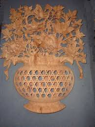 sculpture flower vase panel big carved wood wall