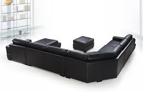 U Sectional Sofas by Ritz Modern Black Leather