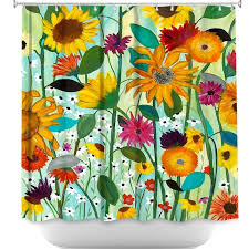 DiaNocheDesigns Sunflower House Shower Curtain  Wayfair