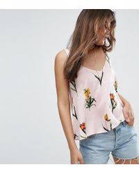 asos soft gathered pretty cami top in green lyst