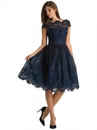 stunning navy lace knee length scallop neck midi elegant dress
