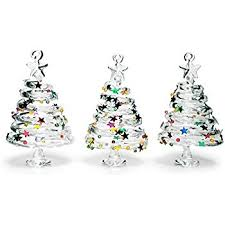 glass tree ornaments set of 3 swirl glass