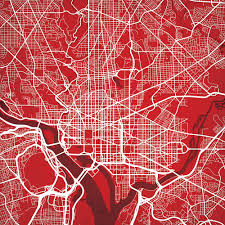 Washington Dc City Map by Washington D C Map Art City Prints