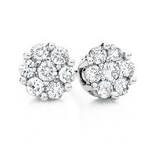 cluster stud earrings cluster stud earrings with 1 4 carat tw of diamonds in 10kt white gold