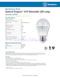 20 Watt Led Light Bulbs by Specification Sheet For Led Bulbs Westinghouse 8 Watt A19 Led