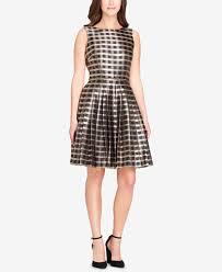tahari asl jacquard plaid fit u0026 flare dress dresses women macy u0027s