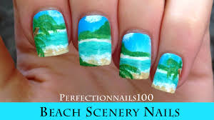 nail art beach scenery nails tutorial done freehand youtube