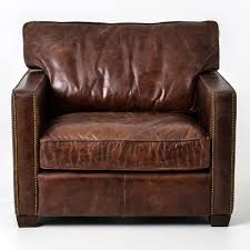 ideal distressed leather club chair with additional interior