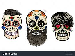 Sugar Skull Pumpkin Carving Patterns by Three Sugar Skulls With Hair And Beards The Day Of The Dead The