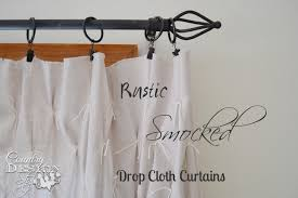 Smocked Burlap Curtains Rustic Smocked Drop Cloth Curtains Country Design Style