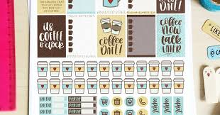 coffee planner stickers printable coffee planner printable stickers at diy candy minted strawberry