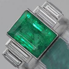 deco emerald engagement ring