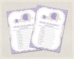 baby shower theme for girl purple gray elephant theme ba shower word scramble purple