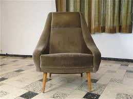 mid century velvet armchair high back easy chair italy 1950s