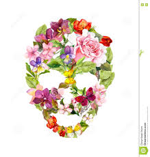 halloween flowers skull with flowers for halloween watercolor stock photo image