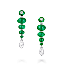 emerald emerald bead and diamond earrings emeralds 94 61 cts graff