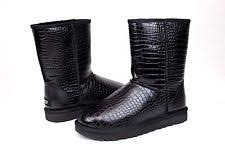 s ugg black leather ugg croco tl black leather sheepskin boots us 5 eur