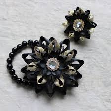 Prom Flowers Prom Corsage And Boutonniere Black And Gold Corsage Wrist