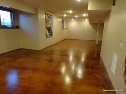 cozy with concrete stained concrete floor overlay by dancer