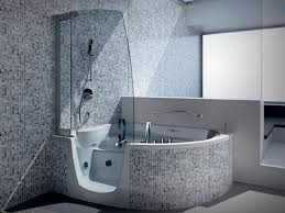 Showers And Tubs For Small Bathrooms Splendid Corner Step In Whirlpool Tub With Modern Steam Shower Tub
