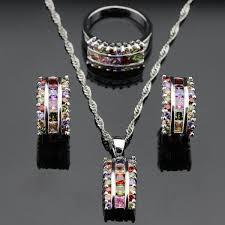 color gemstone rings images Healing crystal jewelry sets jpg