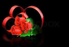 roses and hearts st day of hearts on black background with