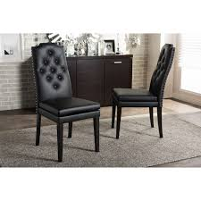Modern Black Leather Dining Chairs Baxton Studio Dylin Modern And Contemporary Black Faux Leather