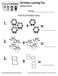 Printable Math Worksheets For Preschool Kindergarten Christmas Addition Worksheet Printable Christmas