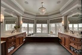 bathroom garden tub decorating ideas with crystal chandelier also