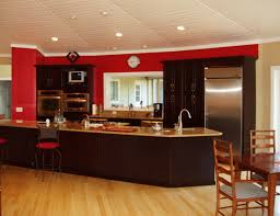 Espresso Cabinet Kitchen Cherry Red Wall Behind Rich Espresso Cabinets In A Deltec