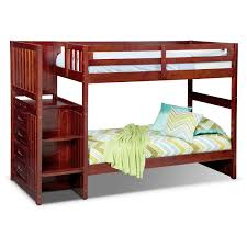loft bunk beds value city furniture ranger twin over twin bunk bed with storage stairs merlot