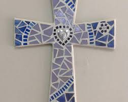 unique wall crosses blue gray mosaic wall cross baptism gift boy godson gift