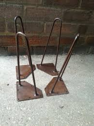 vintage retro eames style 4 x 12 inch steel hairpin legs