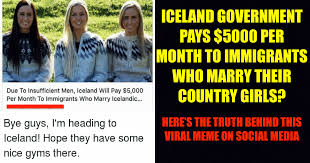 Iceland Meme - marry a woman from iceland and get 5000 per month really