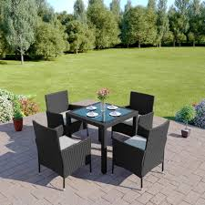 Patio Dining Table Set by 5 Piece Rattan Dining Set With 4 Cube Chairs
