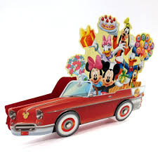 disney pop up car with lights blinks to happy birthday