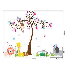 kids children baby bedroom decoration jungle tree animal wallpaper