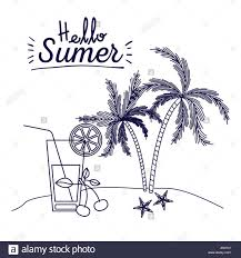 lime slice silhouette blue silhouette poster of hello summer with landscape of palm